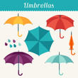 Set of cute multicolor umbrellas in flat design style. - 69298243