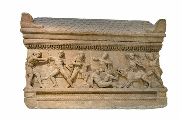 Roman period marble attic sarcophagus found in Peloponnese