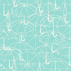 Seamless pattern with cute umbrellas in flat design style.