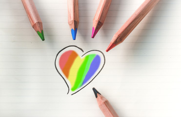 Color your heart - rainbow
