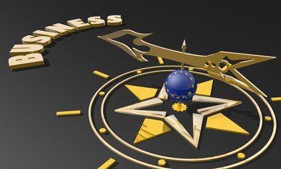 golden compass with europe union flag pointing word business