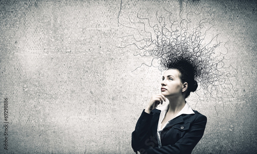 canvas print picture Thoughtful businesswoman