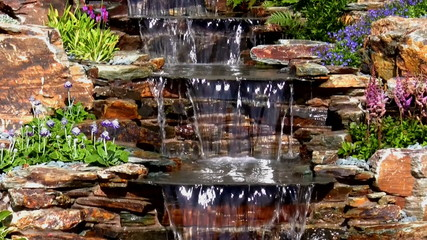 Garden waterfall cascade tilt down