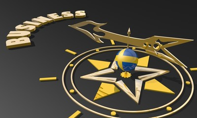 golden compass with sweden flag pointing word business