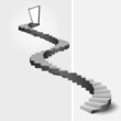bended stairway leading to door top vector