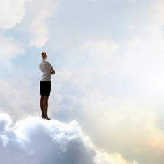 Businesswoman in heaven