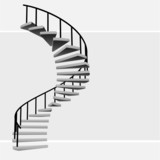 isolated circular staircase with black handrail vector