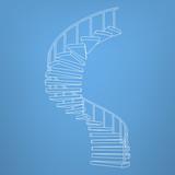 circular staircase blueprint development background vector