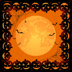Halloween frame with pumpkins
