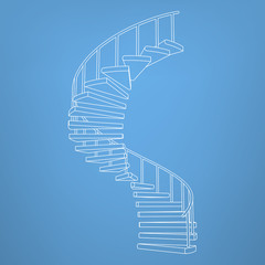 circular staircase blueprint development background vector