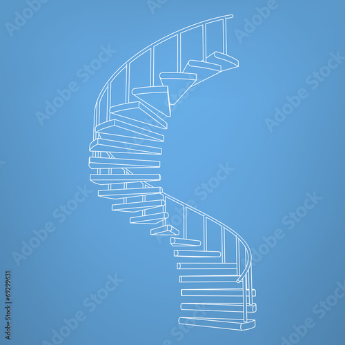 circular staircase blueprint development background vector - 69299631