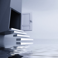 levitating stairs with open door escape from water concept