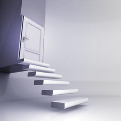 levitating stairs in conceptual space with closed door