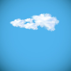vector image of speech cloud on blue sky, easy editable