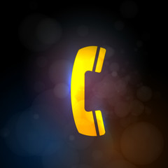 Telephone abstract  neon light vector icon