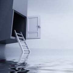 ladder with open door escape from water concept