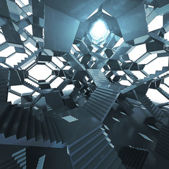 futuristic staircase architecture with light eye