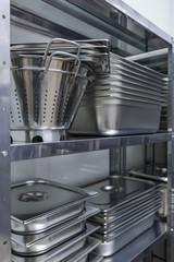 metal utensils in the kitchen of the restaurant