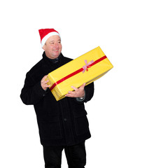 Man running in winter weather with package