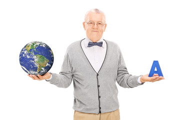 Geography professor holding globe and a letter