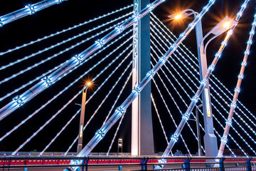 Cable-stayed bridge, night lighting shapes