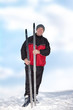 Man with cross-country skis