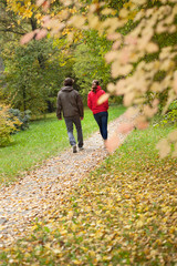 Young people during autumn walk