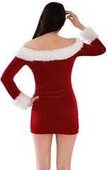 Santa girl standing scratching head