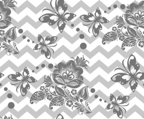 Vector Seamless chevron floral Background