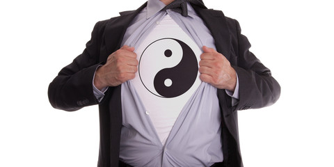 Businessman with yin and yang t-shirt
