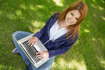 Pretty redhead smiling at camera in the park using laptop