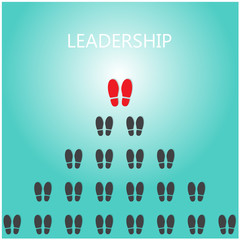 Shoe prints with leadership concept, black vector trail foot, sh