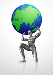 A chrome man lifting up the Globes