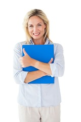 Happy blonde mature student holding folder