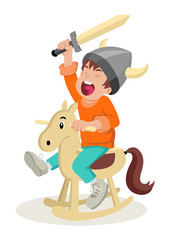 Cartoon illustration of a boy playing with wooden horse