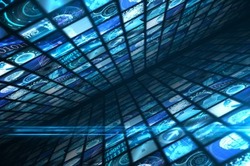 Walls of digital screens in blue