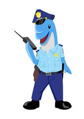 Cute cartoon illustration of a dolphin as a policeman