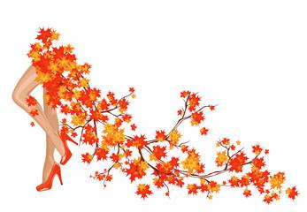 Autumn season background with beautiful legs and foliage