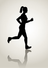 Silhouette illustration of a female figure jogging