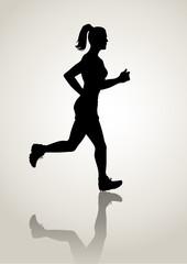 Silhouette illustration of a female figure jogging