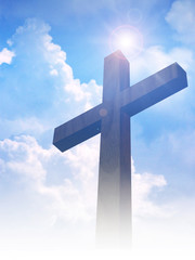 A cross on clouds background