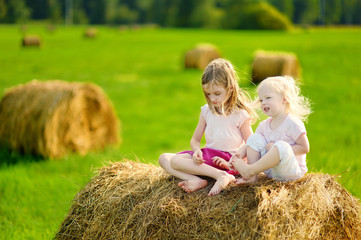 Twio little sisters sitting on a haystack