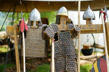 Medieval armor, helmets and spears