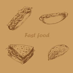 Fast food hand drawn set brown