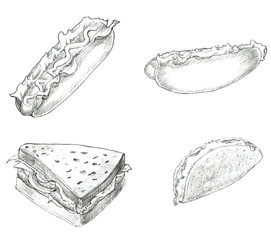 Fast food hand drawn set black and white