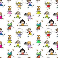 Color Kids Doodles seamless Pattern