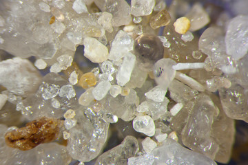 Microphotography of sand grains