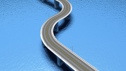 3D highway road over blue water