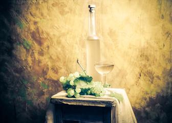 Still life fruit bottlle wine grapes