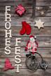 Weihnachtskarte, Grußkarte weihnachtlich mit Text in Rot